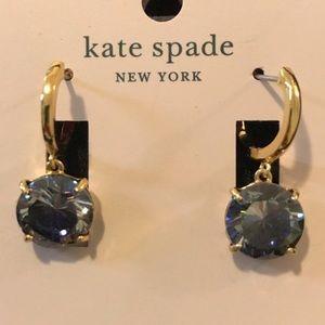 Kate Spade Blue Stone/Gold Huggies. NWT